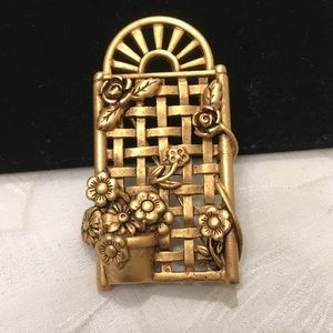 Vintage Signed Brass Brooch Or Pin